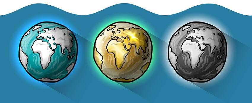 3 Earths: Past, Present, Future