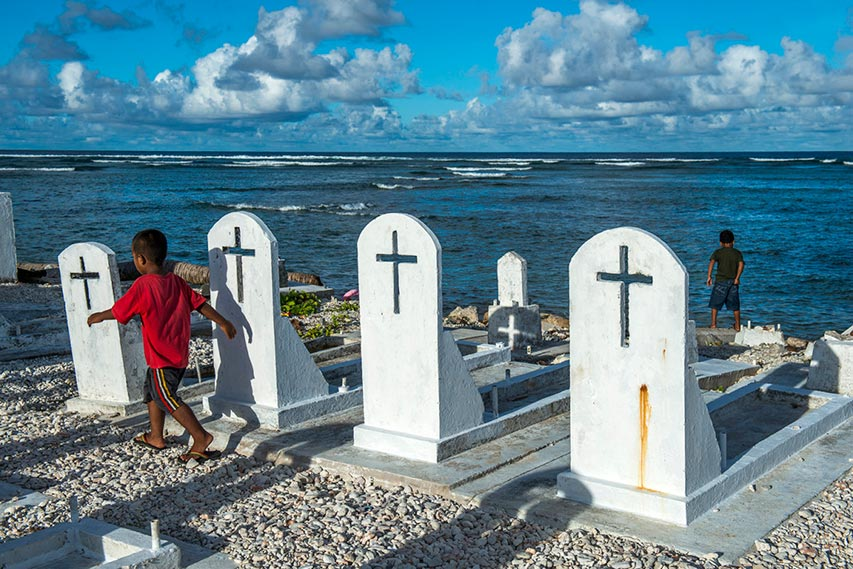 Oceanside graves on the Marshall Islands